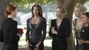 "DESPERATE HOUSEWIVES - ""They Asked Me Why I Believe in You"" -- Susan's longtime book agent and dear friend, Lonny Moon (guest star Wallace Shawn), gets into financial trouble; Lynette is forced to go out to bars night after night with her man-hungry boss, Nina (guest star Joely Fisher); Bree re-buries Rex amid police suspicions, and Gaby hires hotshot lawyer David Bradley (guest star Adrian Pasdar) to defend Carlos, on Desperate Housewives,"" SUNDAY, OCTOBER 23 (9:00-10:01 p.m., ET) on the ABC Television Network. (ABC/RON TOM) MARCIA CROSS, TERI HATCHER, FELICITY HUFFMAN, NICOLLETTE SHERIDAN, EVA LONGORIA"