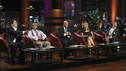 "SHARK TANK - ""Episode 303"" - A family from Dallas, TX asks the Sharks to invest in their jewelry line business ""for girls aged 8 to 80,"" created by one of the daughters when she was only 10 years old; a couple from Waldwich, NJ hopes the Sharks will agree to put a lid on their solution to replace missing garbage can lids; a single working mom from Wellington, FL pitches her wedge-type pillow that allows women with breast implants or large chests to comfortably sleep on their stomachs; and two gentlemen from Chicago, IL offer the Sharks a cup of couture with their reinvention of the tea experience. In a follow up story, George Podd from Lake Forest, IL shows how ""Shark Tank"" made the American dream come true for Lightfilm, a peel & stick light-up decal for car windows, on ""Shark Tank,"" FRIDAY, FEBRUARY 17 (8:00-9:00 p.m., ET) on the ABC Television Network. (ABC/MICHAEL ANSELL) MARK CUBAN, DAYMOND JOHN, KEVIN O'LEARY, LORI GREINER, ROBERT HERJAVEC"