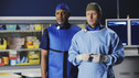 "GREY'S ANATOMY - ""Shiny Happy People"" - An elderly patient admitted into the E.R. for a heart condition sees a familiar face, a long lost love who happens to be in the E.R. as well for a fractured arm, and the staff find themselves caught up in their love story. Meanwhile, Karev treats a troubled teenage patient (guest star Demi Lovato) whose parents brought her in for schizophrenia, and Meredith can't help but tell Cristina about her suspicions of Owen -- which inevitably messes with Cristina's head -- on ""Grey's Anatomy,"" THURSDAY, MAY 13 (9:00-10:01 p.m., ET) on the ABC Television Network. (ABC/MITCH HADDAD) JAMES PICKENS, JR., KEVIN MCKIDD"