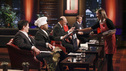 SHARK TANK - &quot;Episode 311&quot; - Will Sharks Barbara and Kevin seal a deal with a kiss when two guys from Utah ask them to sample their flavored mix-and-match lip balm kissing product? A self-professed gadget guy from Ketchum, ID calls a Shark's lucrative offer &quot;insane&quot; regarding his revolutionary clothing item; during their heated negotiation, the entrepreneur calls Apple Computers co-founder Steve Wozniak for advice. A newlywed from Rockledge, FL who lost her job the day before coming to the Tank hopes the Sharks will invest in her and her husband's line of innovative, clever kitchen products; and a husband from Derby, KS pitches the Sharks a heat-recycling device which his wife calls &quot;common sense in a box.&quot; Also, a follow-up on Greenville, SC's Kim Nelson's homemade Daisy Cakes, which Barbara invested in during Season 2, on &quot;Shark Tank,&quot; FRIDAY, MARCH 9 (8:00-9:00 p.m., ET) on the ABC Television Network. (ABC/RICHARD CARTWRIGHT) MARK CUBAN, DAYMOND JOHN, KEVIN O'LEARY, BARBARA CORCORAN (OBSCURED), ROBERT HERJAVEC, STEPHANIE RENSING (THE SMART BAKER)