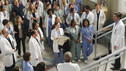 "GREY'S ANATOMY - ""With You I'm Born Again"" -- After an unforgettable and heart-pounding season finale, ""Grey's Anatomy"" returns for its seventh season on THURSDAY, SEPTEMBER 23 (9:00-10:01 p.m., ET) on the ABC Television Network. In the season premiere, the hospital staff is trying to deal with physical and emotional trauma in the wake of the deadly rampage of a vengeful gunman. As Dr. Perkins (James Tupper), a trauma counselor, is brought in to help in the recovery and to assess each doctor's readiness to return to work, Derek makes a spontaneous decision to resign as Chief and rushes back into surgery, taking everything a little too fast, and Cristina buries herself in her wedding planning. (ABC/PETER ""HOPPER"" STONE) SANDRA OH, ELLEN POMPEO, ERIC DANE, KIM RAVER, SARAH DREW, JAMES PICKENS JR., PATRICK DEMPSEY"