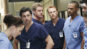 "GREY'S ANATOMY - ""I Saw What I Saw"" - After a burn victim unexpectedly dies in the midst of a chaotic ER, the Chief and board member Jennings interrogate the residents to find the culprit, as all the Mercy West and Seattle Grace resident defends their actions in an effort to save their jobs, on ""Grey's Anatomy,"" THURSDAY, OCTOBER 22 (9:00-10:01 p.m., ET) on the ABC Television Network. (ABC/RON TOM) CHYLER LEIGH, PATRICK DEMPSEY, ERIC DANE, KEVIN MCKIDD, JESSE WILLIAMS"