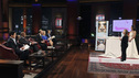 "SHARK TANK -""Episode 204"" -- Tempers flare when guest Shark Mark Cuban urges the entrepreneurs to stop negotiating with the other Sharks if they even want a chance to make a business deal with him. In this episode, a fireman from Arkansas brings an invention to the Shark Tank that could make millions and save lives; after creating an eco-friendly way to listen to music on the go, a duo from Chicago hope the Sharks will want to invest; a feisty, combative entrepreneur from Montclair, New Jersey seeks to cash in on the lucrative wedding business; and a man from Oklahoma hopes the Sharks will smell the money when he pitches his unique male-oriented brand of candles, on ""Shark Tank,"" FRIDAY, MAY 6 (8:00-9:00 p.m., ET) on the ABC Television Network. (ABC/CRAIG SJODIN) MARK CUBAN, DAYMOND JOHN, KEVIN O'LEARY, BARBARA CORCORAN, ROBERT HERJAVEC, JULIE GOLDMAN (ORIGINAL RUNNER CO.)"