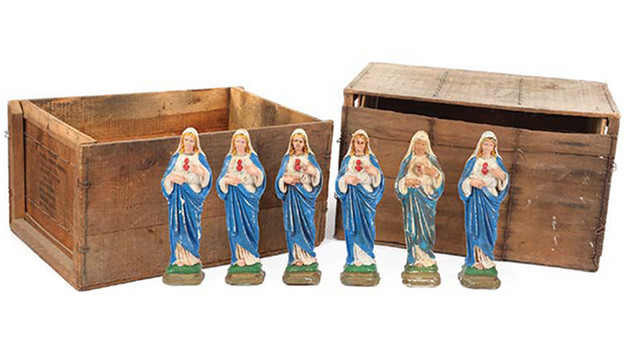 "Two (2) crates filled with six (6) Virgin Mary statues Two (2) crates filled with six (6) Virgin Mary statues, all plastic. The Virgin Marystatues were used to smuggle heroin out of Africa. Crate measures approx. 22 in. x 15 in. x 14 in. and the statues measures 12 in.Related content:EPISODE RECAP - ""Deus Ex Machina""EPISODE RECAP - ""Three Minutes""PHOTOS - ""Three Minutes""EPISODE RECAP - ""The 23rd Psalm""PHOTOS - ""The 23rd Psalm"""