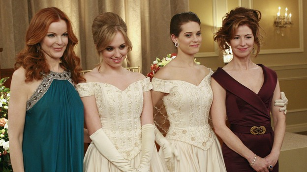 "DESPERATE HOUSEWIVES - ""In Buddy's Eyes"" - Julie, Dylan, Katherine and Bree at the Founders Day Ball, on Desperate Housewives,"" SUNDAY, APRIL 20 (9:00-10:02 p.m., ET) on the ABC Television Network. (ABC/RON TOM) MARCIA CROSS, ANDREA BOWEN, LYNDSY FONSECA, DANA DELANY"