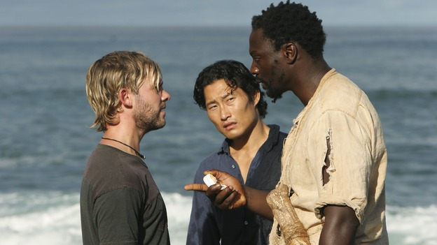 "LOST - ""The 23rd Psalm"" - Mr. Eko interrogates Charlie about the Virgin Mary statue, Claire begins to lose faith in Charlie when she discovers his secret, and Jack is an interested observer when Kate gives the recovering Sawyer a much-needed haircut, on ""Lost,"" WEDNESDAY, JANUARY 11 (9:00-10:00 p.m., ET), on the ABC Television Network. (ABC/MARIO PEREZ) DOMINIC MONAGHAN, DANIEL DAE KIM, ADEWALE AKINNUOYE-AGBAJE"