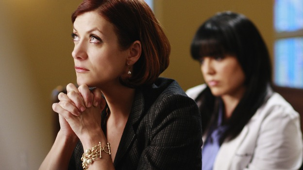 "GREY'S ANATOMY - ""Before and After"" - Addison and Callie pray for Archer in the chapel, on ""Grey's Anatomy,"" THURSDAY, FEBRUARY 12 (9:00-10:02 p.m., ET) on the ABC Television Network. (ABC/RON TOM) KATE WALSH, SARA RAMIREZ"