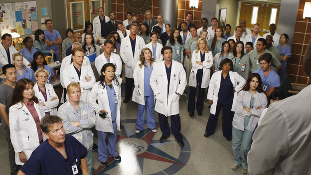 "GREY'S ANATOMY - ""Goodbye"" - ""Grey's Anatomy"" returns for its sixth season with a two-hour event on THURSDAY, SEPTEMBER 24 (9:00-11:00 p.m., ET) on the ABC Television Network. In the first hour, entitled ""Good Mourning"" (9:00-10:00 p.m.), the hospital staff is left to deal with the aftermath of George's passing. Hitting the staff hard, they all find unique ways to get through the various stages of grief. George's mom returns, faced with the difficult task of deciding what to do with his organs. In the second episode, entitled ""Goodbye"" (10:00-11:00 p.m.), time has passed... Everyone is struggling after losing one of their own and are turning to any distraction they can find. Meredith and Derek seem to be consummating their marriage anywhere and everywhere, while Cristina and Owen have been instructed to abstain from sex by Dr. Wyatt. (ABC/MICHAEL DESMOND)KEVIN MCKIDD, SANDRA OH, JUSTIN CHAMBERS, ERIC DANE, ELLEN POMPEO, CHYLER LEIGH, PATRICK DEMPSEY, JESSICA CAPSHAW, CHANDRA WILSON"