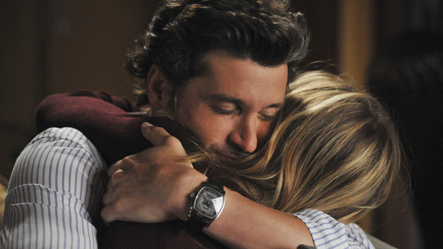 "GREY'S ANATOMY- ""Here Comes the Flood"" - Derek holds Meredith, on ""Grey's Anatomy,"" THURSDAY, OCTOBER 9 (9:00-10:01 p.m., ET) on the ABC Television Network. (ABC/ERIC McCANDLESS) PATRICK DEMPSEY, ELLEN POMPEO"
