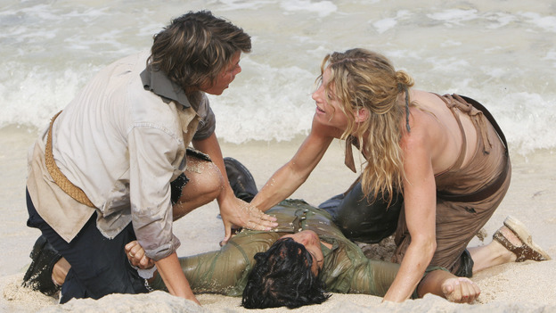 "LOST - ""The Other 48 Days"" - Cindy and Libby pull Jin out of the water as the harrowing first 48 days in the lives of the tail section survivors are revealed, on ""Lost,"" WEDNESDAY, NOVEMBER 16 (9:00-10:00 p.m., ET), on the ABC Television Network. (ABC/MARIO PEREZ) KIMBERLEY JOSEPH, DANIEL DAE KIM, CYNTHIA WATROS"