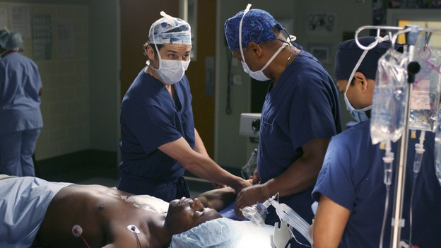 "GREY'S ANATOMY - In the first hour of part two of the season finale of ABC's ""Grey's Anatomy"" -- ""Deterioration of the Fight or Flight Response"" -- Izzie and George attend to Denny as the pressure increases to find him a new heart, Cristina suddenly finds herself in charge of an ER, and Derek grapples with the realization that the life of a friend is in his hands. In the second hour, ""Losing My Religion,"" Richard goes into interrogation mode about a patient's condition, Callie confronts George about his feelings for her, and Meredith and Derek meet about Doc. Part two of the season finale of ""Grey's Anatomy"" airs MONDAY, MAY 15 (9:00-11:00 p.m., ET) on the ABC Television Network. (ABC/SCOTT GARFIELD)PATRICK DEMPSEY, ISAIAH WASHINGTON, JAMES PICKENS, JR."