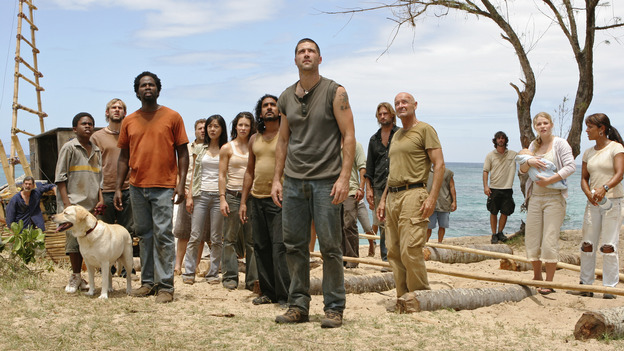 "102843_0210 -- LOST - ""Exodus, Part II"" (ABC/MARIO PEREZ)MALCOLM DAVID KELLEY, DOMINIC MONAGHAN, HAROLD PERRINEAU, YUNJIN KIM, EVANGELINE LILLY, NAVEEN ANDREWS, MATTHEW FOX, JOSH HOLLOWAY, TERRY O'QUINN, EMILIE DE RAVIN"