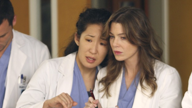 "GREY'S ANATOMY - ""Six Days"" - After a successful operation on his heart, George's father undergoes surgery for his cancer, Thatcher Grey visits Seattle Grace in order to see his new granddaughter, and Meredith discovers that Derek has trouble sleeping soundly, on ""Grey's Anatomy,"" THURSDAY, JANUARY 4 (9:00-10:01 p.m., ET) on the ABC Television Network. (ABC/MICHAEL DESMOND)SANDRA OH, ELLEN POMPEO"