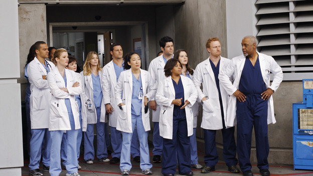 "GREY'S ANATOMY - ""How Insensitive"" - Bailey preps the team with a mandatory sensitivity training prior to admitting a 700-pound patient with compounded medical issues, and the case proves to be challenging in every sense of the word. Meanwhile Derek has to come face to face with a former patient's husband in a wrongful death deposition, and spending time with a heart patient's daughter opens up some old wounds for Cristina, on ""Grey's Anatomy,"" THURSDAY, MAY 6 (9:00-10:01 p.m., ET) on the ABC Television Network. (ABC/RON TOM) JESSE WILLIAMS, CHYLER LEIGH, NORA ZEHETNER, ELLEN POMPEO, JUSTIN CHAMBERS, SANDRA OH, ROBERT BAKER, CHANDRA WILSON, SARAH DREW, KEVIN MCKIDD, JAMES PICKENS JR."