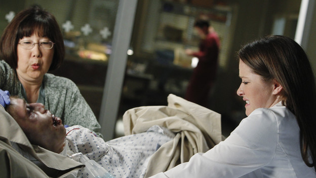 GREY'S ANATOMY - &quot;With You I'm Born Again&quot; -- After an unforgettable and heart-pounding season finale, &quot;Grey's Anatomy&quot; returns for its seventh season on THURSDAY, SEPTEMBER 23 (9:00-10:01 p.m., ET) on the ABC Television Network. In the season premiere, the hospital staff is trying to deal with physical and emotional trauma in the wake of the deadly rampage of a vengeful gunman. As Dr. Perkins (James Tupper), a trauma counselor, is brought in to help in the recovery and to assess each doctor's readiness to return to work, Derek makes a spontaneous decision to resign as Chief and rushes back into surgery, taking everything a little too fast, and Cristina buries herself in her wedding planning. (ABC/PETER &quot;HOPPER&quot; STONE)MATTHEW FAHEY, SARAH DREW