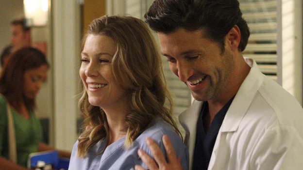 "GREY'S ANATOMY - ""I Always Feel Like Somebody's Watchin' Me"" - Several weeks after her near-death experience, a recovering Izzie returns to work. Meanwhile, nervous that there will be layoffs in the hospital in the wake of an announcement from the Chief, the Seattle Grace residents compete to survive the cuts, including Cristina, who attempts to work alongside Arizona in pediatrics. And Bailey and Alex's patient's already complex case is further complicated by her schizophrenic son, on ""Grey's Anatomy,"" THURSDAY, OCTOBER 1 (9:00-10:01 p.m., ET) on the ABC Television Network. (ABC/CRAIG SJODIN)ELLEN POMPEO, PATRICK DEMPSEY"