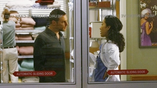 "GREY'S ANATOMY - ""Now or Never"" - Dr. Alex Karev and Dr. Cristina Yang argue about the treatment for Dr. Izzie Stevens, on ""Grey's Anatomy,"" THURSDAY, MAY 14 (9:00-11:00 p.m., ET) on the ABC Television Network. JUSTIN CHAMBERS, SANDRA OH"