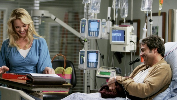 "GREY'S ANATOMY - ""Name of the Game"" - George begins to overstay his welcome at Burke's apartment; Meredith learns a secret about her father; Bailey worries her colleagues will not treat her the same now that she's a mother; and Alex gets a lesson in bedside manners, on ""Grey's Anatomy,"" SUNDAY, APRIL 2 (10:00-11:00 p.m., ET) on the ABC Television Network. (ABC/PETER ""HOPPER"" STONE)KATHERINE HEIGL, JEFFREY DEAN MORGAN"