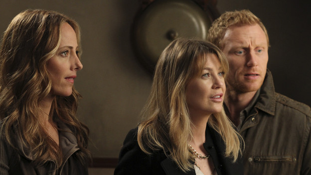 "GREY'S ANATOMY - ""Something's Gotta Give"" - Top security measures go into place as a team of doctors, led by the Chief, try to save the life of a major policitcal figure from the Middle East. Meanwhile Cristina decides to finally decorate her new place and throw a housewarming party, and Alex shows up late from a weekend getaway to his first day of rounds with the new Pediatrics Attending, Dr. Phil Stark (guest star Peter MacNicol), on ""Grey's Anatomy,"" THURSDAY, NOVEMBER 11 (9:00-10:01 p.m., ET) on the ABC Television Network. (ABC/RON TOM)KIM RAVER, ELLEN POMPEO, KEVIN MCKIDD"
