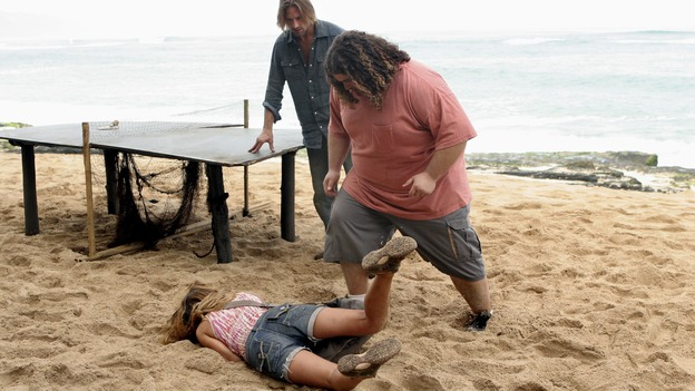 LOST - &quot;Expos&quot; - Hurley begins to suspect that Sawyer may be involved in an island mystery surrounding two fellow survivors, and Sun learns the truth about her past kidnapping attempt by &quot;The Others,&quot; on &quot;Lost,&quot; WEDNESDAY, MARCH 28 (10:00-11:00 p.m., ET), on the ABC Television Network. (ABC/MARIO PEREZ)KIELE SANCHEZ, JOSH HOLLOWAY, JORGE GARCIA