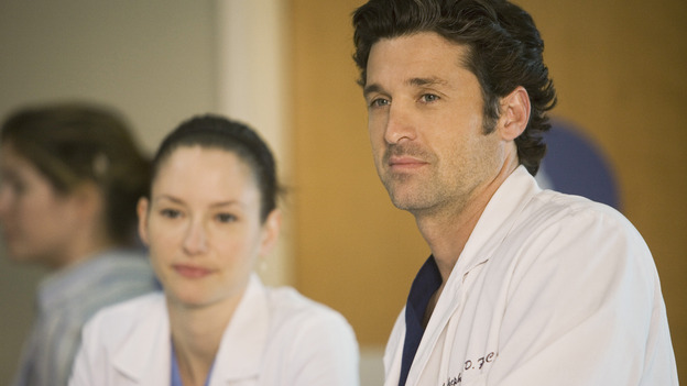 "GREY'S ANATOMY - ""These Ties That Bind"" - Dr. Derek Shepherd and Intern Lexie Grey, on ""Grey's Anatomy,"" THURSDAY, NOVEMBER 13 (9:00-10:01 p.m., ET) on the ABC Television Network. (ABC/RANDY HOLMES) CHYLER LEIGH, PATRICK DEMPSEY"