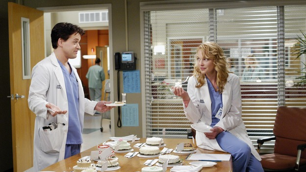 "GREY'S ANATOMY - ""Desire"" - As the interns of Seattle Grace cram for their upcoming exam, the attendings vie for the Chief's position by tending to the chairman of the hospital board after he's admitted as a patient. Meanwhile, Burke struggles to involve Cristina in the wedding planning, things heat up between Addison and Alex, and Derek questions his relationship with Meredith, on ""Grey's Anatomy,"" THURSDAY, APRIL 26 (9:00-10:01 p.m., ET) on the ABC Television Network. (ABC/GALE ADLER)T.R. KNIGHT, KATHERINE HEIGL"