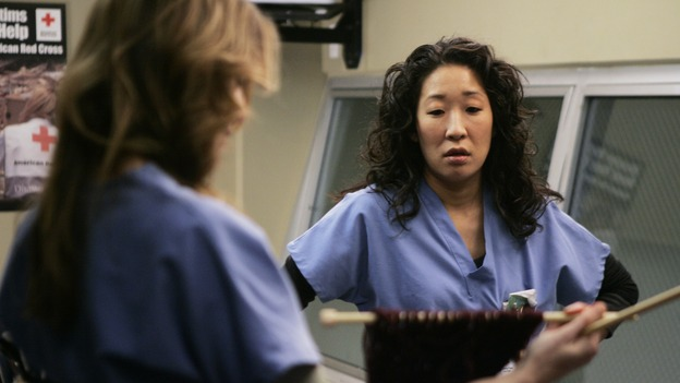 GREY'S ANATOMY - &quot;Name of the Game&quot; - George begins to overstay his welcome at Burke's apartment; Meredith learns a secret about her father; Bailey worries her colleagues will not treat her the same now that she's a mother; and Alex gets a lesson in bedside manners, on &quot;Grey's Anatomy,&quot; SUNDAY, APRIL 2 (10:00-11:00 p.m., ET) on the ABC Television Network. (ABC/PETER &quot;HOPPER&quot; STONE)ELLEN POMPEO, SANDRA OH