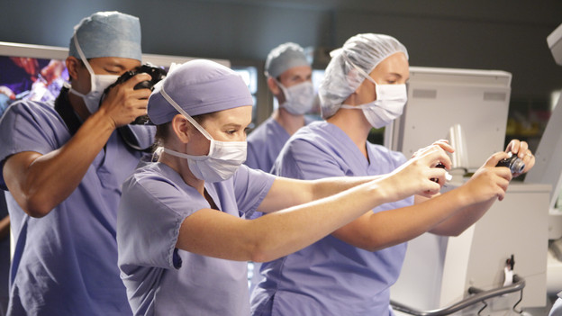 "GREY'S ANATOMY - ""These Arms of Mine"" - A documentary film crew visits the hospital six months after the shooting to document the road to recovery for doctors and patients. The camera lenses follow Derek, Owen, Mark & Callie as they ambitiously perform a rare arm transplant surgery, Meredith helps Cristina put on a brave face for the cameras, and Bailey's patient, Mary, returns for her surgery -- which marks the first time they've all seen of each other since that fateful day -- on ""Grey's Anatomy,"" THURSDAY, OCTOBER 28 (9:00-10:01 p.m., ET) on the ABC Television Network. (ABC/ADAM TAYLOR)SARAH DREW"
