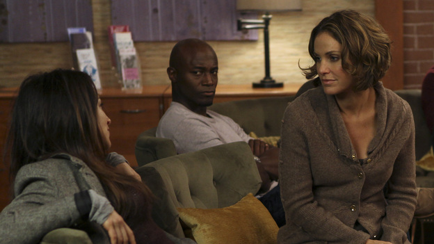 PRIVATE PRACTICE - &quot;Who We Are&quot; - In the first hour or a special two-hour edition of ABC's &quot;Private Practice,&quot; THURSDAY, NOVEMBER 17 (9:00-11:00 p.m., ET) -- entitled &quot;Who We Are&quot; -- the Seaside Wellness group stages an intervention for a defensive and volatile Amelia, who has resurfaced after disappearing on a 12-day drug binge with her boyfriend, Ryan. During the intervention, Amelia mercilessly attacks her friends one-by-one, and Addison, in particular, has trouble seeing her sister-in-law in her present condition. (ABC/MATT KENNEDY)CATERINA SCORSONE, TAYE DIGGS, AMY BRENNEMAN