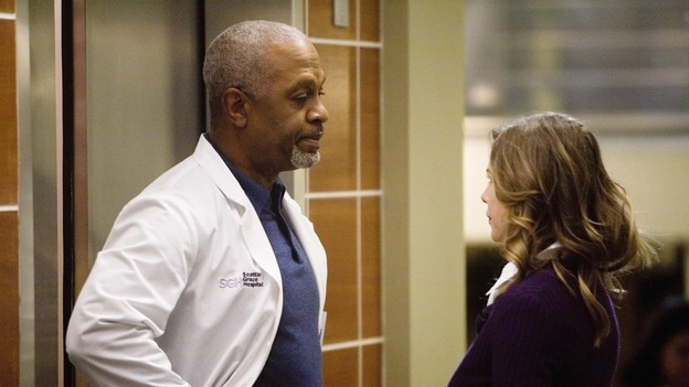 "GREY'S ANATOMY - ""Elevator Love Letter"" - The Chief tells Meredith that she needs to take the other elevator, on ""Grey's Anatomy,"" THURSDAY, MARCH 26 (9:00-10:02 p.m., ET) on the ABC Television Network. (ABC/RANDY HOLMES) JAMES PICKENS JR., ELLEN POMPEO"