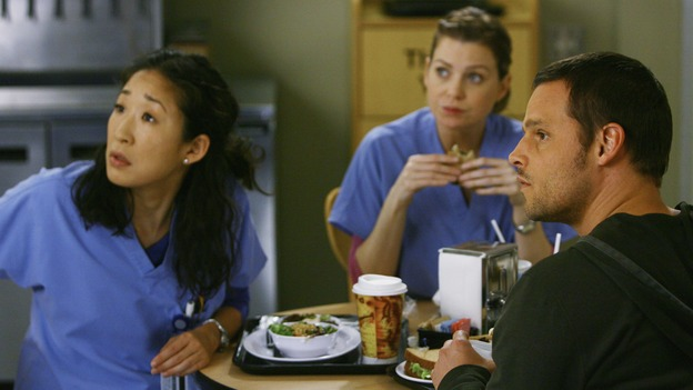 "GREY'S ANATOMY - ""Now or Never"" - Drs. Cristina Yang, Meredith Grey and Alex Karev respond to the news that Dr. George O'Malley has joined the U.S. Army, on ""Grey's Anatomy,"" THURSDAY, MAY 14 (9:00-11:00 p.m., ET) on the ABC Television Network. SANDRA OH, ELLEN POMPEO, JUSTIN CHAMBERS"