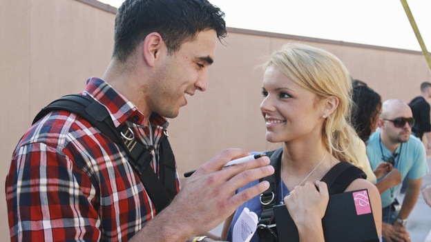 """THE BACHELORETTE - """"Episode 603"""" - Ali swoops in and  takes one unsuspecting bachelor - Roberto -- on a helicopter ride over  Los Angeles to their one-on-one date. When the couple lands on top of  one of the tall buildings, Ali reveals that they have dinner  reservations. The problem is they are on the rooftop of an adjacent  building. The only way to get to their romantic tryst is to transverse a  100-foot tightrope together. Will they both overcome their fears and  take the first steps toward falling in love, or will Ali's date fall  from grace and be sent home without a rose, on """"The  Bachelorette,"""" MONDAY, JUNE 7 (8:00-10:02 p.m., ET), on ABC.  (ABC/CHRIS CHAVIRA)ROBERTO, ALI FEDOTOWSKY"""