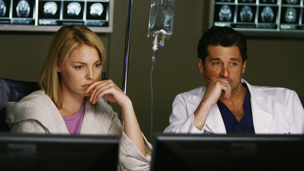 "GREY'S ANATOMY - ""What a Difference a Day Makes"" - Derek and Izzie look over some of her test results, on ""Grey's Anatomy,"" THURSDAY, MAY 7 (9:00-10:02 p.m., ET) on the ABC Television Network. (ABC/SCOTT GARFIELD) KATHERINE HEIGL, PATRICK DEMPSEY"