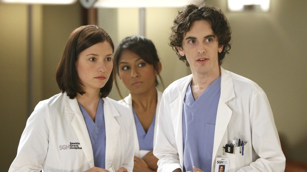 GREY'S ANATOMY - &quot;Love/Addiction&quot; - The residents and interns treat the victims of a massive explosion at an apartment building, while Alex investigates the cause of the accident, Mama Burke returns to collect her son's things just as Cristina trades her wedding presents in exchange for surgeries, Lexie tries to have a heart-to-heart with an unwilling Meredith, and while Callie is overwhelmed with her duties as Chief Resident, Bailey searches for an outlet for her pent-up leadership skills, on &quot;Grey's Anatomy,&quot; THURSDAY, OCTOBER 4 (9:00-10:01 p.m., ET) on the ABC Television Network. (ABC/MICHAEL DESMOND)CHYLER LEIGH, AMRAPALI AMBEGAOKAR, MARK SAUL