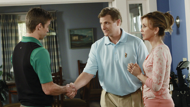 "DESPERATE HOUSEWIVES - ""Everything's Different, Nothing's Changed"" - Paul Young stands in the way of Susan getting her much-needed kidney transplant; Lynette is furious with Tom when he passes up a lucrative job opportunity in order to continue working with Carlos out of friendship; Bree becomes concerned over Andrew's escalating alcohol consumption; and Gaby is shocked when Renee continues as planned with her neighborhood party after the tragic suicide attempt of one of Wisteria Lane's residents, on ""Desperate Housewives,"" SUNDAY, APRIL 3 (9:00-10:01 p.m., ET) on the ABC Television Network. (ABC/RON TOM)RON MELENDEZ, DOUG SAVANT, FELICITY HUFFMAN"