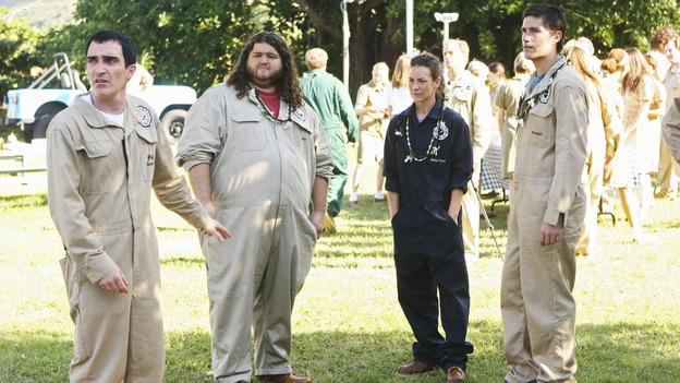 "LOST - ""Namaste"" - Jack, Kate and Hurley become new Dharma recruits, while their true backgrounds remain a mystery to Dharma security guard Phil, on ""Lost,"" WEDNESDAY, MARCH 18 (9:00-10:02 p.m., ET) on the ABC Television Network. (ABC/MARIO PEREZ) PATRICK FISCHLER, JORGE GARCIA, EVANGELINE LILLY, MATTHEW FOX"