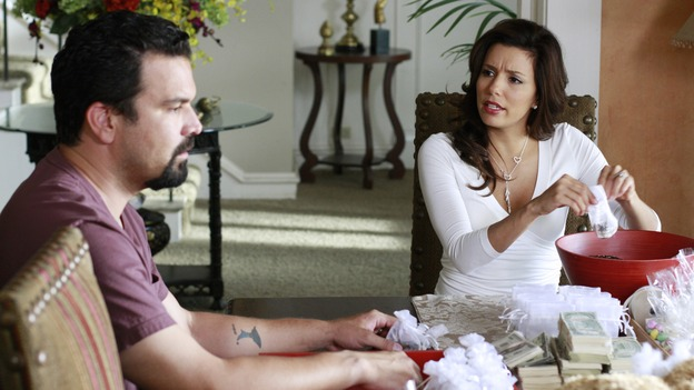 DESPERATE HOUSEWIVES - &quot;Desperate Housewives&quot; concludes the season in fitting fashion with a dramatic two-hour Season Finale, SUNDAY, MAY 18 (9:00-11:00 p.m., ET) on the ABC Television Network. In the second hour, &quot;Free&quot; (10:00-11:00 p.m.). (ABC/RON TOM) RICARDO ANTONIO CHAVIRA, EVA LONGORIA PARKER