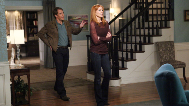 "DESPERATE HOUSEWIVES - ""Lost My Power"" - With Mike gone, Susan attempts to build a car for MJ's father-and-son school soapbox derby; Bree's attorney, Trip (Scott Bakula), learns of her previous drunken sexual spree and needs her to come clean about it in order to help strengthen her case; Lynette tries to cause some negative friction between Tom and his girlfriend, Jane, by flirting with his boss and getting him to pile more work on her estranged husband; Gaby is furious with Carlos when he tries to poach one of her rich, personal shopper clients (Doris Roberts) and talk her into helping with his newly formed charity organization; and Renee discovers that Ben is keeping a secret from her about his involvement with Bree -- and the body found at his work site -- on ""Desperate Housewives,"" SUNDAY, APRIL 29 (9:01-10:01 p.m., ET) on the ABC Television Network. (ABC/DANNY FELD)SCOTT BAKULA, MARCIA CROSS"