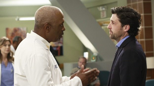 "GREY'S ANATOMY - ""I Will Follow You into the Dark"" - The Chief and Meredith try to convince a depressed Derek to come back to work, on ""Grey's Anatomy,"" THURSDAY, MARCH 12 (9:00-10:02 p.m., ET) on the ABC Television Network. (ABC/RON TOM) ELLEN POMPEO, JAMES PICKENS JR., PATRICK DEMPSEY"