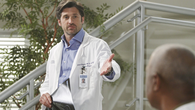 "GREY'S ANATOMY - ""With You I'm Born Again"" -- After an unforgettable and heart-pounding season finale, ""Grey's Anatomy"" returns for its seventh season on THURSDAY, SEPTEMBER 23 (9:00-10:01 p.m., ET) on the ABC Television Network. In the season premiere, the hospital staff is trying to deal with physical and emotional trauma in the wake of the deadly rampage of a vengeful gunman. As Dr. Perkins (James Tupper), a trauma counselor, is brought in to help in the recovery and to assess each doctor's readiness to return to work, Derek makes a spontaneous decision to resign as Chief and rushes back into surgery, taking everything a little too fast, and Cristina buries herself in her wedding planning. (ABC/PETER ""HOPPER"" STONE)PATRICK DEMPSEY, JAMES PICKENS JR."