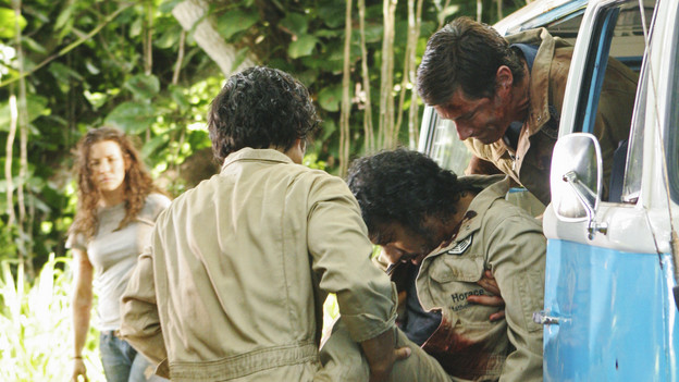 LOST - &quot;LA X&quot; - &quot;Lost&quot; returns for its final season of action-packed mystery and adventure -- that will continue to bring out the very best and the very worst in the people who are lost -- on the season premiere of &quot;Lost,&quot; TUESDAY, FEBRUARY 2 (9:00-11:00 p.m., ET) on the ABC Television Network. On the season premiere episode, &quot;LA X&quot; Parts 1 &amp; 2, the aftermath from Juliet's detonation of the hydrogen bomb is revealed. (ABC/MARIO PEREZ) EVANGELINE LILLY, DANIEL DAE KIM, NAVEEN ANDREWS, MATTHEW FOX