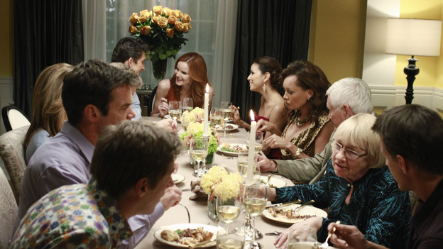 "DESPERATE HOUSEWIVES - ""And Lots of Security..."" / ""Come on Over for Dinner"" - A progressive dinner party thrown for Susan to celebrate her move back onto the lane leads to a shocking murder. Meanwhile, Gaby is stunned to learn the identity of the mysterious man who has been stalking her; Lynette and Tom attempt to put the spark back into their marriage by spending a few days alone together at a romantic B&B; after being placed under arrest for allegedly poisoning Paul, Susan must convince the police that she was being framed for the deed by Felicia; Bree begins to suspect that her new boyfriend may be gay; and Renee is devastated when she learns that her ex-husband is getting re-married, on the two-hour Season Finale of ""Desperate Housewives,"" SUNDAY, MAY 15 (9:00-11:00 p.m., ET) on the ABC Television Network. (ABC/RON TOM)TUC WATKINS, JONATHAN CAKE, KEVIN RAHM, MARCIA CROSS, EVA LONGORIA, VANESSA WILLIAMS, ORSON BEAN, KATHRYN JOOSTEN, JAMES DENTON"