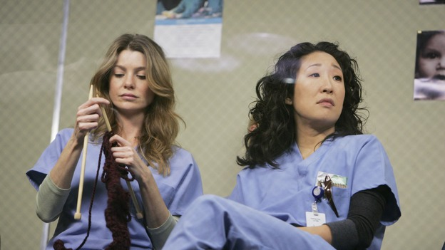 "GREY'S ANATOMY - ""Name of the Game"" - George begins to overstay his welcome at Burke's apartment; Meredith learns a secret about her father; Bailey worries her colleagues will not treat her the same now that she's a mother; and Alex gets a lesson in bedside manners, on ""Grey's Anatomy,"" SUNDAY, APRIL 2 (10:00-11:00 p.m., ET) on the ABC Television Network. (ABC/PETER ""HOPPER"" STONE)ELLEN POMPEO, SANDRA OH"
