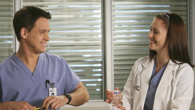 "GREY'S ANATOMY - ""Here Comes the Flood"" - A plumbing leak becomes a deluge and wreaks havoc at Seattle Grace, as the Chief attempts to implement new teaching policies and George tries to retake his residency exam; meanwhile Derek hopes to move the roommates out of Meredith's house, to their surprise, on ""Grey's Anatomy,"" THURSDAY, OCTOBER 9 (9:00-10:01 p.m., ET) on the ABC Television Network. (ABC/DANNY FELD)T.R. KNIGHT, CHYLER LEIGH"