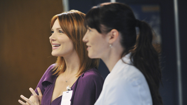 "GREY'S ANATOMY - ""Suddenly"" - A severe car crash involving an entire family results in an all-hands-on situation in the ER, as the eldest daughter is left to make the toughest decision of her life. Meanwhile Teddy, still in the dark about Henry's death, calls upon Cristina to help with her patient in the O.R., and Lexie finds herself working alongside Mark's new girlfriend, Julia, during an eye surgery on Grey's Anatomy, THURSDAY, JANUARY 5 (9:00-10:02 p.m., ET) on the ABC Television Network. (ABC/RICHARD FOREMAN)HOLLEY FAIN, CHYLER LEIGH"