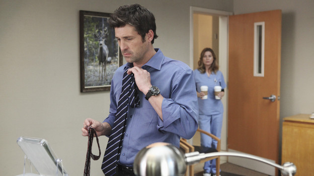 "GREY'S ANATOMY - ""State of Love and Trust"" - As Derek begins his role as interim chief, he faces a potential lawsuit when Bailey and Meredith's patient awakens from anesthesia mid-surgery. Meanwhile, Teddy refuses to place Cristina on her service, as Arizona tests Alex out in Pediatrics, and Mark refuses to speak to a heartbroken Lexie, on ""Grey's Anatomy,"" THURSDAY, FEBRUARY 4 (9:00-10:01 p.m., ET) on the ABC Television Network. (ABC/ADAM LARKEY)PATRICK DEMPSEY, ELLEN POMPEO"