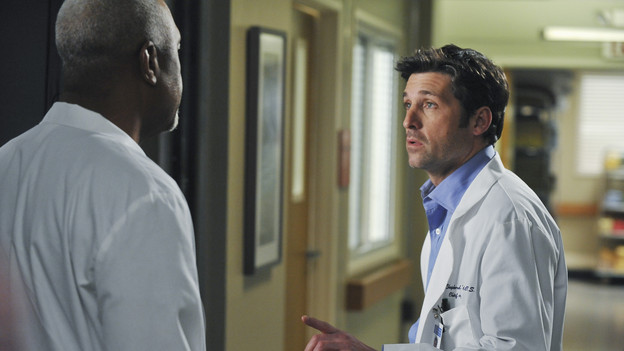 "GREY'S ANATOMY - ""Perfect Little Accident"" - When famous surgeon Dr. Harper Avery is rushed to Seattle Grace-Mercy West, the staff is surprised to discover that one of their own is related to this legend, and his unorthodox request for his surgery causes tensions between Derek and Richard. Meanwhile Callie and Arizona try to help Teddy and Sloan move on from their pasts and find greener pastures, on ""Grey's Anatomy,"" THURSDAY, MARCH 4 (9:00-10:01 p.m., ET) on the ABC Television Network. (ABC/ERIC MCCANDLESS)JAMES PICKENS JR., PATRICK DEMPSEY"