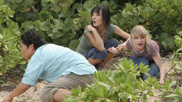 "LOST - ""Par Avion"" - Claire becomes suspicious of Charlie when he exhibits peculiar behavior after she comes up with an idea that could get everybody rescued. Meanwhile, tensions mount between Sayid and Locke as they continue their trek to rescue Jack, on ""Lost,"" WEDNESDAY, MARCH 14 (10:00-11:00 p.m., ET), on the ABC Television Network. (ABC/MARIO PEREZ)DANIEL DAE KIM, YUNJIN KIM, EMILIE DE RAVIN"