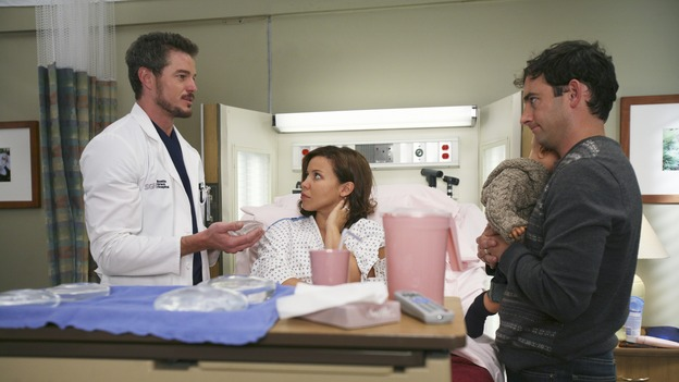 "GREY'S ANATOMY - ""Oh, The Guilt"" - Bailey treats a young mother battling breast cancer, Derek learns more about Mark and Addison's relationship, the interns defend a resident's competence at a hospital staff meeting, and Meredith and Addison examine a couple who find themselves in a rather awkward position, on ""Grey's Anatomy,"" THURSDAY, OCTOBER 19 (9:00-10:01 p.m., ET) on the ABC Television Network. (ABC/KAREN NEAL)ERIC DANE, JUSTINA MACHADO, CHRIS CONNER"