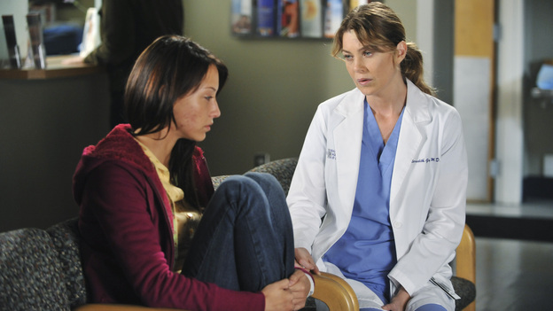 "GREY'S ANATOMY - ""Suddenly"" - A severe car crash involving an entire family results in an all-hands-on situation in the ER, as the eldest daughter is left to make the toughest decision of her life. Meanwhile Teddy, still in the dark about Henry's death, calls upon Cristina to help with her patient in the O.R., and Lexie finds herself working alongside Mark's new girlfriend, Julia, during an eye surgery on Grey's Anatomy, THURSDAY, JANUARY 5 (9:00-10:02 p.m., ET) on the ABC Television Network. (ABC/RICHARD FOREMAN)STELLA MAEVE, ELLEN POMPEO"